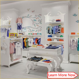 중국 China fashion lovely clean neat wooden white smellless painting children kids baby clothes store interior design 공장