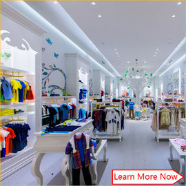 중국 Customized nice design fashion white wooden kids clothing store interior design,kids baby shop design decoration 공장