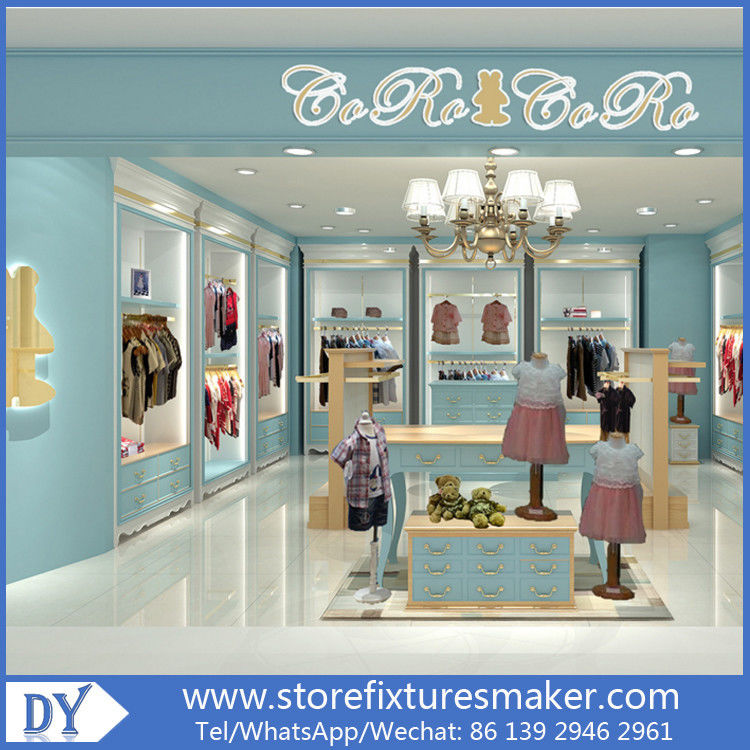 Custom nice fashion  design wooden lacquer Childrens Clothing Stores display showcase furniture  with good price 협력 업체