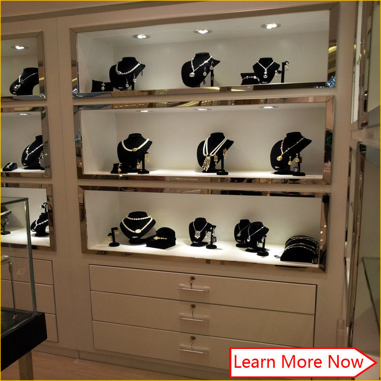 Modern glossy white commercial jewelry display shelves,wall mount jewelry showcase 협력 업체