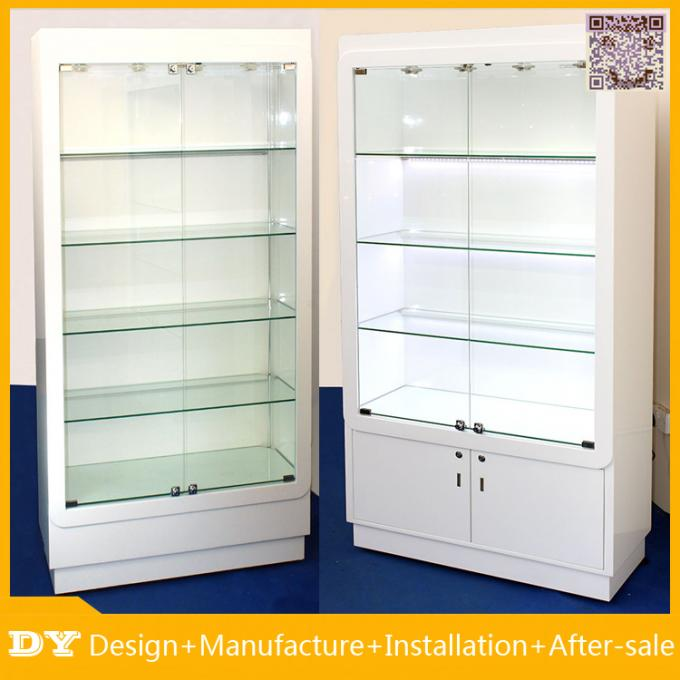 Customized good quality wall glass jewelry display shelves with lighting